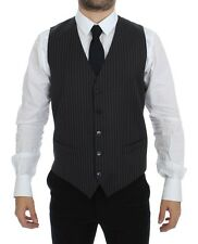 NWT DOLCE & GABBANA Gray Striped Wool Single Breasted Vest IT48 / US38 / M