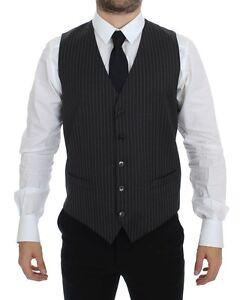 DOLCE & GABBANA Gray Striped Wool Single Breasted Vest IT48 / US38 / M