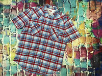 T22 Levis Checked Shirt Cotton Slim Fit Mens Large Short Sleeve