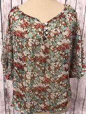 Full Tilt Women's Large Top Shirt Sheer Floral Print Cream Lace Shoulder Detail