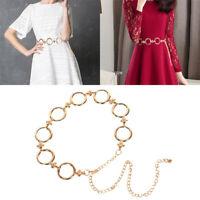 Women Ladies Girls Metal Gold Waist Chain Belt Bridal Wedding Party Fashion ^S