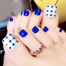 24pcs blue 3d false toe nails french toe nail art tips acrylic fake toe