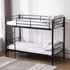 3Ft Single Metal Bunk Bed Frame in Black for Twins Kids Adult Bedroom Furniture