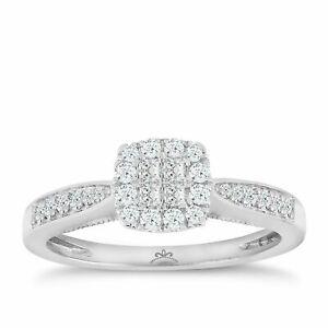 H Samuel 9 Carat White Gold 0.33 Carat Diamond Princessa Ring Size M.5 2.5g