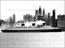 Photo: SS Normandie Glides Past Manhattan Towards Pier 88 On Maiden Voyage, 1935