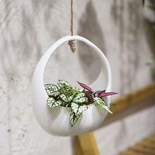 Round White Hanging Ceramic Flower Pot Indoor Outdoor Vertical Garden Planter