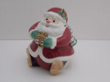 Fitz And Floyd Christmas Santa Candy Jar - Red Trimmed with Plaid Scarf