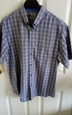 Mens Marks and Spencers short sleeve shirt XL blue and peach checked