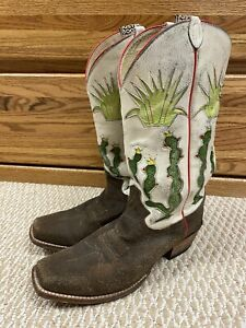 JUSTIN HISTORICAL VINTAGE COLLECTION ROUGH OUT INLAYED CACTUS COWBOY BOOTS 9.5EE
