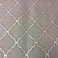 Charcoal Trellis Tile Wallpaper Embossed Vinyl Glitter Kitchen & Bathroom Holden
