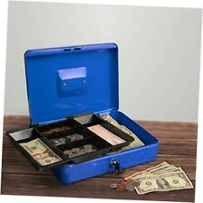 Cash Box Locking Petty Cash Safe With 12 X 95 X 35 Blue Removable Tray