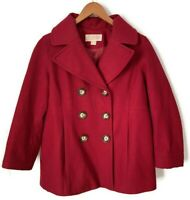 Michael Kors Women's Red Double Breasted Pea Coat Jacket Wool Blend Size Medium