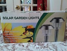 SOLAR GARDEN LIGHTS-SET OF TWO-SUN POWERED-NO WIRING-NEW IN BOX