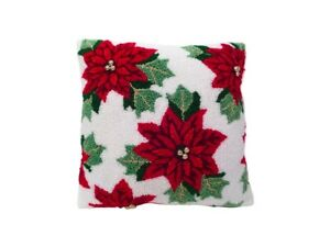 St. Nicholas Square Tufted Poinsettia Throw Pillow NWT $35.99