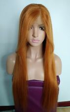 "Custom Full Lace European Copper Color Silky Straight Human Hair Wig 24"" w Bangs"