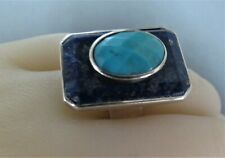 Silver Lapis Lazuli & Turquoise Ring. Modernist Design. C^A 925.2008. Size O. ae