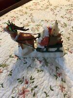 Vintage Santa Claus & Sleigh Reindeer Ceramic Rare Vintage Christmas teddy bear