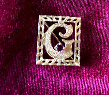 with small amethyst, marked 14K  Stylized Letter G Brooch Pin