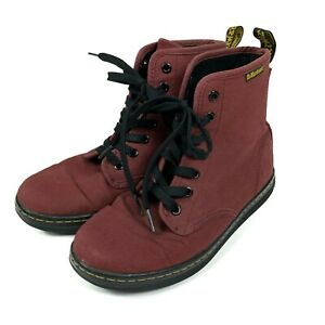 Dr Martens Shoreditch Boots Womens US 7 UK 5 Cherry Red Maroon Canvas Lace Up
