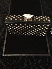 Prada Black Patent Leather Clutch Bag with Silver Tone Studs NWT