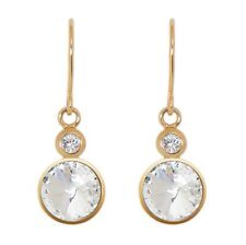 DSE 5087677 Twin Solitaire Long Earrings Swarovski crystal/gold-plated Authentic