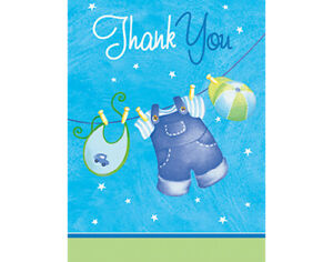 SALE - 8 Blue Clothesline It's a Boy Thank You Cards - Baby Shower Party