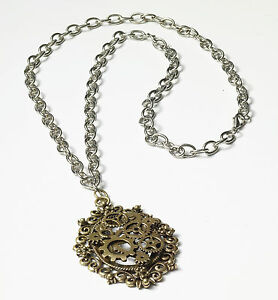 Metal Steampunk Gears Necklace Bronze Adult Halloween Costume Accessory