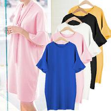 AU 8-24 Women Ruffled Short Sleeve Casual Loose Long Tops Shirt Dress Plus Size