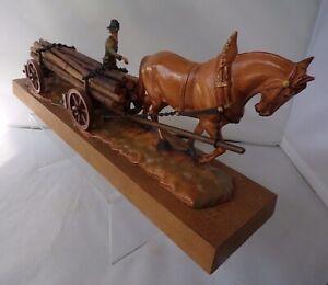 Logging Wagon Shire Horse Model Plastic And Wood Figurine German Italian ?