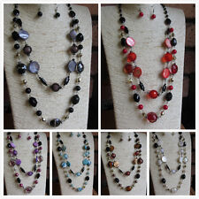 Classic Double Row Long Beaded Necklace & Matching Earrings Red Black Purple ...