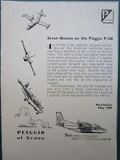 1960'S PUB PIAGGIO OF GENOA AVION PIAGGIO P.166 AIRCRAFT FLUFZEUG ORIGINAL AD