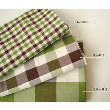 """Cotton Fabric Check by the yards 44"""" Cozy Before dyeing green brown check"""