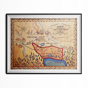 The Ponderosa Ranch Map Poster Bonanza TV Intro Opening Nevada Western 18 x 24