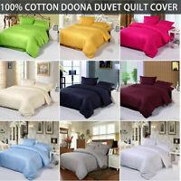 100% Cotton Solid Doona Duvet Quilt Cover Set Double/Queen/King Size Pillowcase