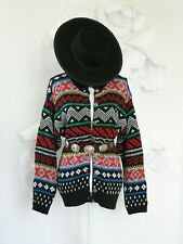 Vintage 80's Aztec Colorful Sweater Cardigan Women's M Hipster Western Boho