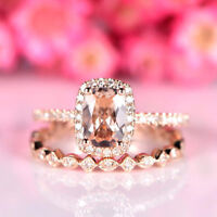 3Ct Cushion Cut Morganite Diamond Halo Engagement Ring Set 14K Rose Gold Fnsh