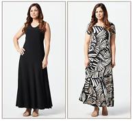Attitudes by Renee Como Jersey Set of 2 Maxi Dresses Black/Safari Petite Small