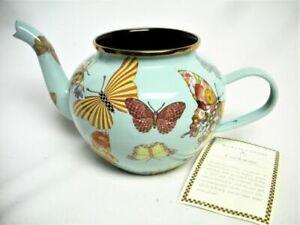 Mackenzie Childs Butterfly Garden Sky Blue Enamel Teapot 4 Cup No Damage No Lid