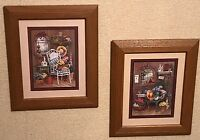 """Homco Home Interiors Two Pictures Barbara Mock Artist 10.5 x 12.5"""" VGC Flowers"""