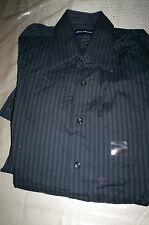 NWT $45 JOHN ASHFORD SPREAD COLLAR DRESS SHIRT-BLACK STRIPE-16 34/35