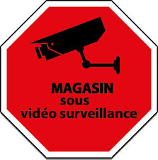 STICKER ADHESIF AUTOCOLLANT  MAGASIN SOUS VIDEO SURVEILLANCE  5X5CM