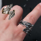 Retro Men Gothic Punk Antique Silver Stainless Steel Feather Ring Band Jewelry