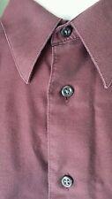 Pronto Uomo mens Dress Shirt 16 36/37 TALL Maroon Black L/S button front Cotton