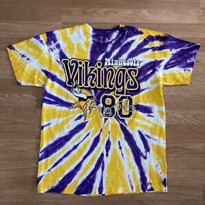 Vintage Minnesota Vikings Tie Dye T-Shirt L 1999 #80 Cris Carter Anvil  K