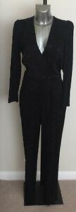 Ladies M&S Size 12R Long Sleeve V Neck Jumpsuit Satin Print Bnwt/Bnwot