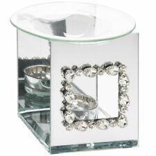 Beautiful Mirrored Diamante Diamond Deco T-Light Oil or Wax Melt Burner Home Art