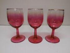 3 CRANBERRY FADE CORDIAL WINE GLASSES STEMWARE