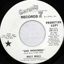 BILLY MILLS 45 Sad Memories SEVENTY 7 Modern SOUL White Label PROMO DD175