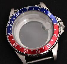 GMT style watch case Glass back ETA 2836 ETA 2824-2 Seagull ST1612, Miyota 8205