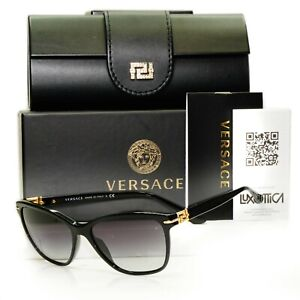Authentic VERSACE Sunglasses Womens Gold Crystal Smoke Square 4290-B GB1/87 57mm